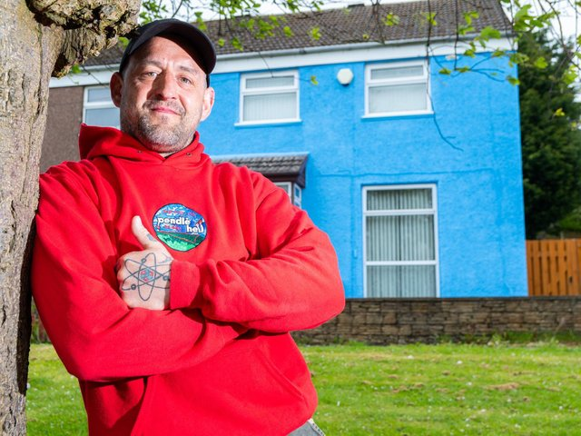 Scott Pickles painted his house blue in a bid to help people struggling with their mental wellbeing to think what they can do to make them feel more positive