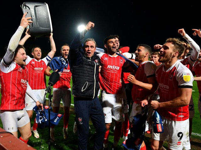 Michael Duff celebrates promotion with Cheltenham Town