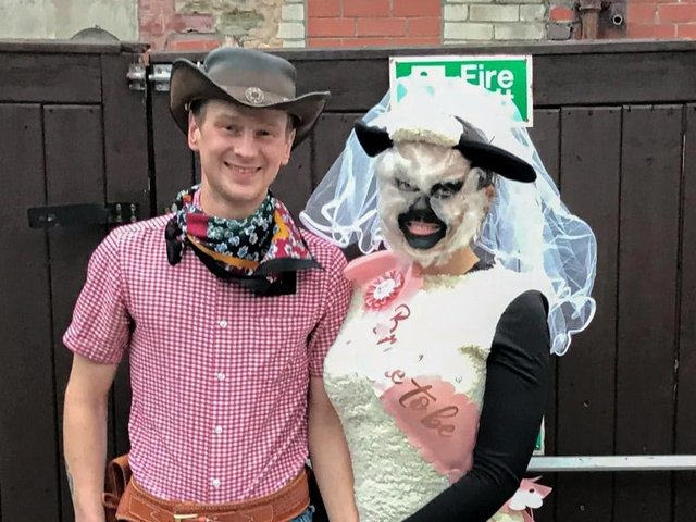 Sweethearts James Cook and Bethany Wolstencroft celebrated joint stag and hen dos in fancy dress attire