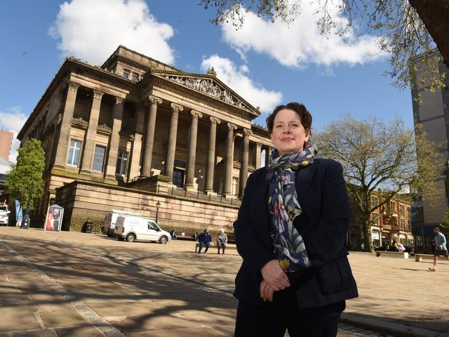 Hilary Machell  pictured outside the Harris Museum, Art Gallery and Library in Preston  Photo: Neil Cross