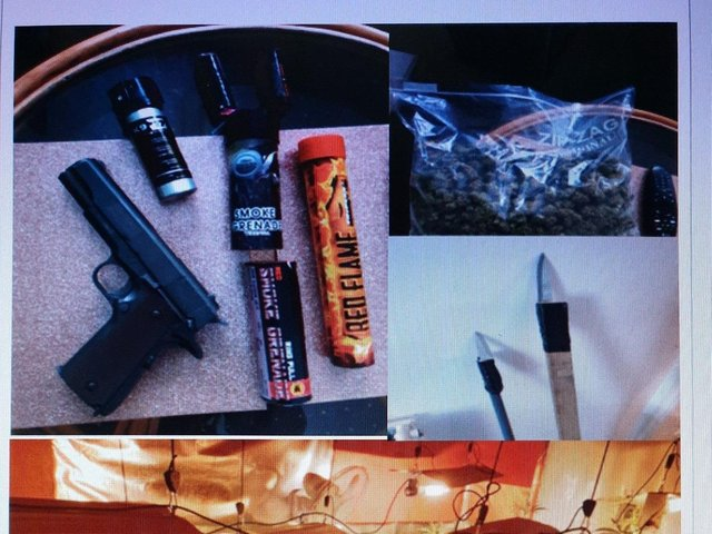 The imitation firearm and weapons police found during the search of a house in Nelson yesterday
