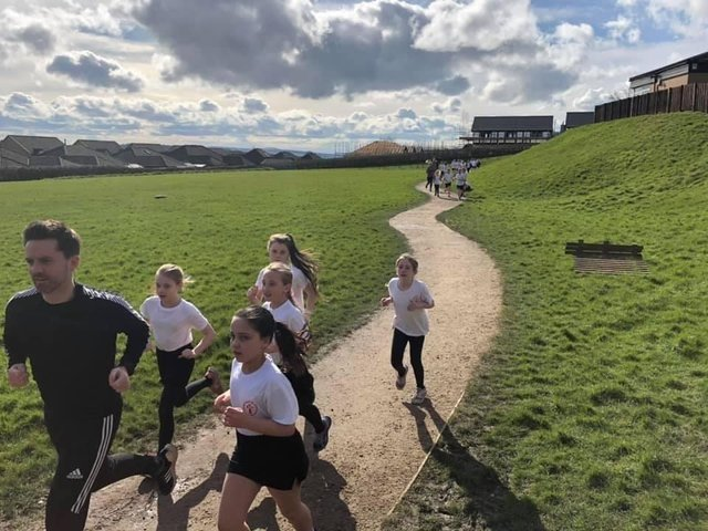 Sacred Heart pupils out running