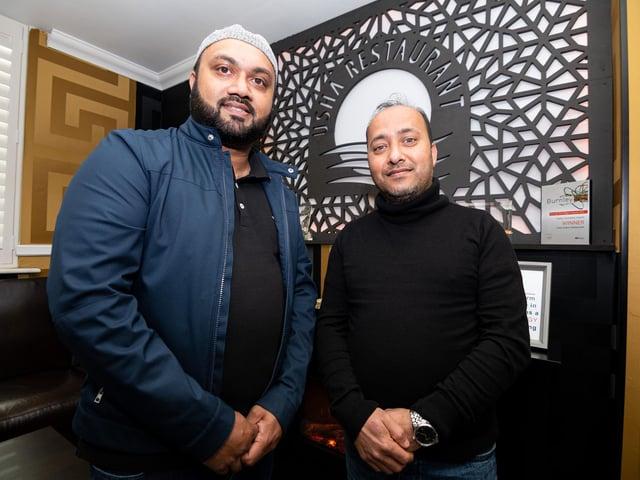 Head chef Ibby Ali with second chef Eusuf Ali at Usha Indian Restaurant, Burnley. Photo: Kelvin Stuttard