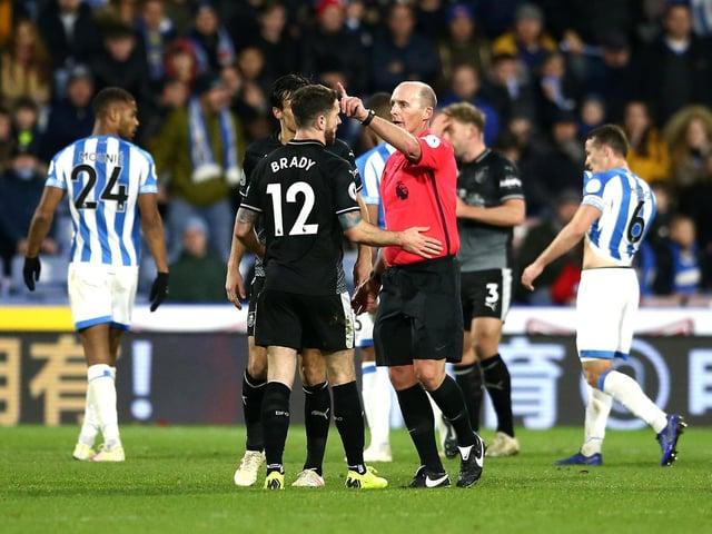 Mike Dean sends Robbie Brady off at Huddersfield