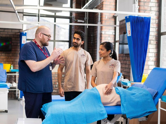 Students and staff in the medical facilities at the Burnley Campus