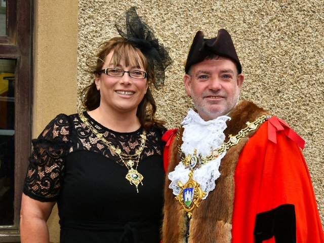 The new Clitheroe Town Mayor Coun.Simon ORourke and the Mayoress Coun. Donna ORourke. Picture by David Bleazard