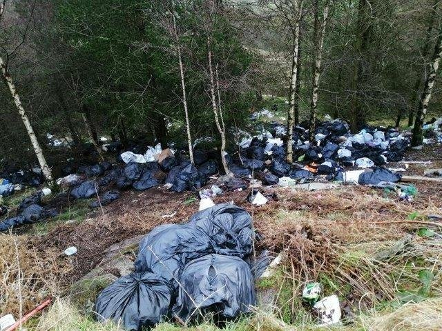 Rubbish previously flytipped off Bacup Road, Cliviger, last year