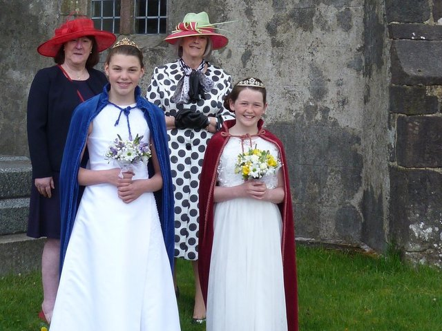 Mrs Aldwyth Pearson and Mrs Anthea Hodson along with Sadie and Lilly