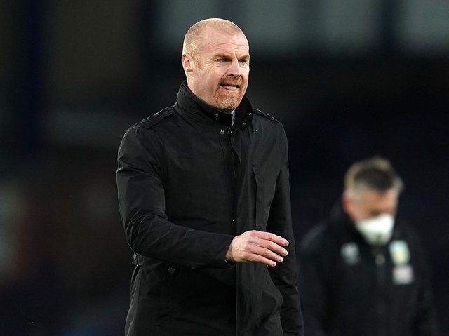Sean Dyche, Manager of Burnley looks on during the Premier League match between Everton and Burnley at Goodison Park on March 13, 2021 in Liverpool, England.