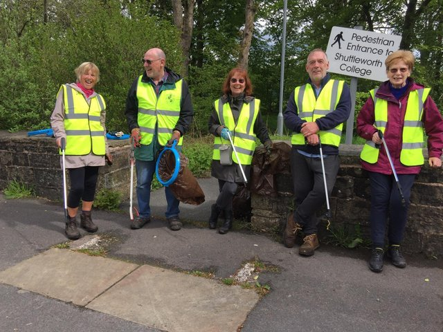 Ready to continue with their clean up campaign are members of Padiham Rotary Club