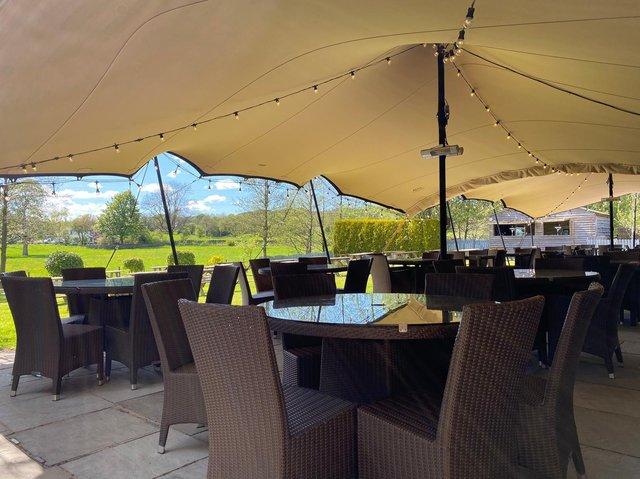 The new covered outdoor seating at the Forest at Fence