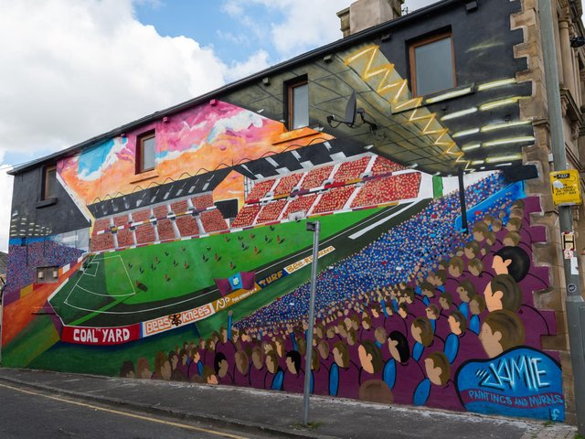 The Turf Moor mural on the side of The Turf pub in Burnley