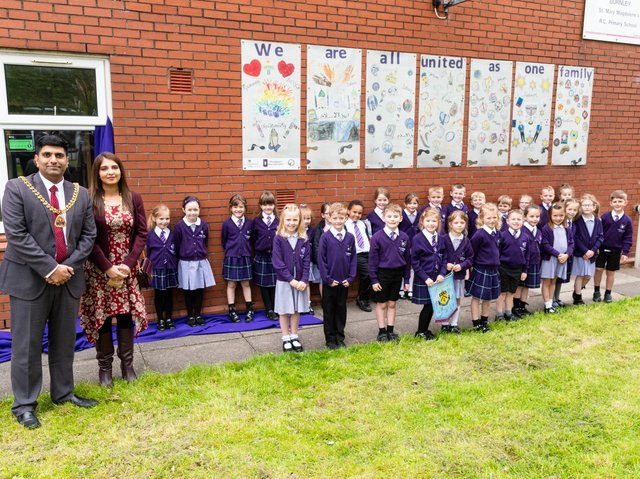 The Mayor and Mayoress of Burnley at the unveiling of The Bridge project at St Mary Magdalene's RC Primary School