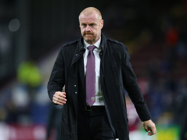 Sean Dyche, Manager of Burnley looks on as he leaves the pitch following the Premier League match between Burnley and Liverpool at Turf Moor on May 19, 2021 in Burnley, England.