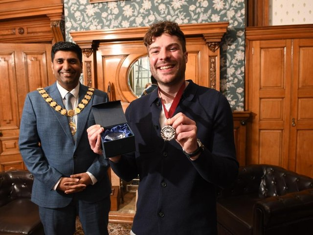 Jordan North after collecting his Mayor's Medal from Lord Wajid Khan.