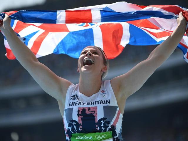 Sophie Hitchon celebrates winning bronze at Rio 2016