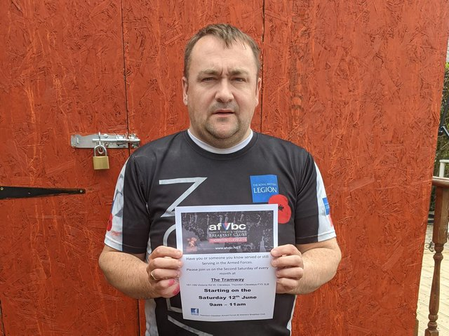 David Brewin pictured holding the poster advertising the new Thornton Cleveleys Armed Forces and Veterans Breakfast Club which will restart on June 12 and is open to all veterans.