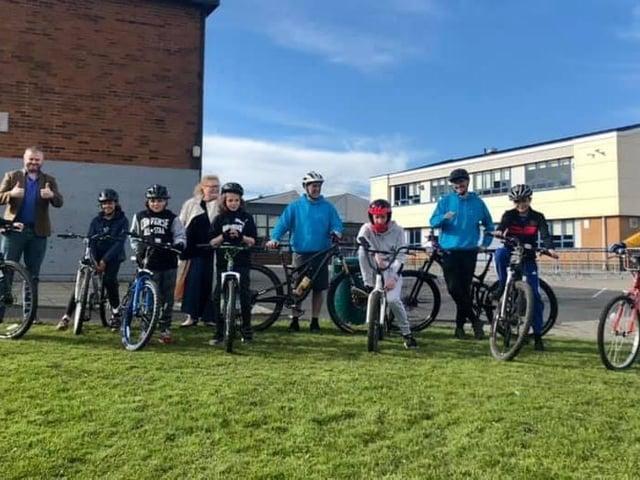 CYAG members biking with Pendle MP Andrew Stephenson