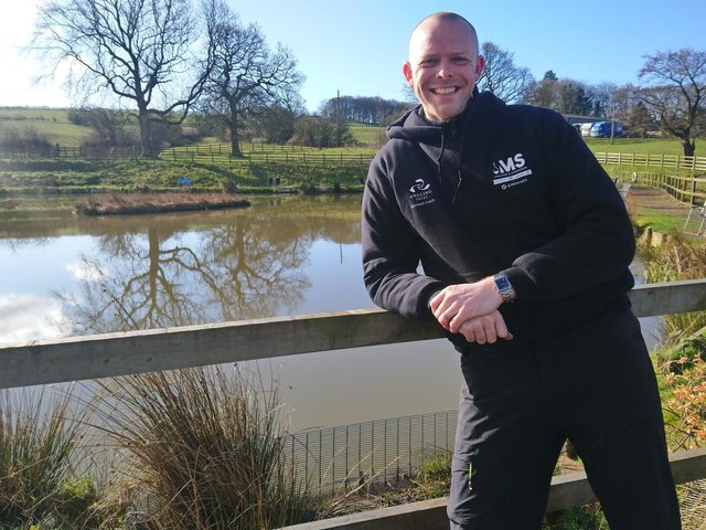 Mark at Cornfield Farm fishery in Burnley where he delivers his angling sessions