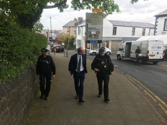Lancashire's new PCC Andrew Snowden joins local police officers on the beat in Clitheroe