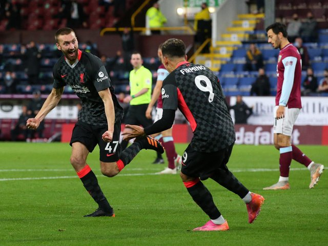 Nat Phillips celebrates scoring against Burnley