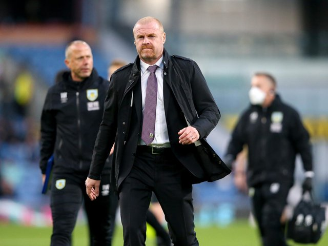 Sean Dyche, Manager of Burnley looks on as he walks off at half time during the Premier League match between Burnley and Liverpool at Turf Moor on May 19, 2021 in Burnley, England.