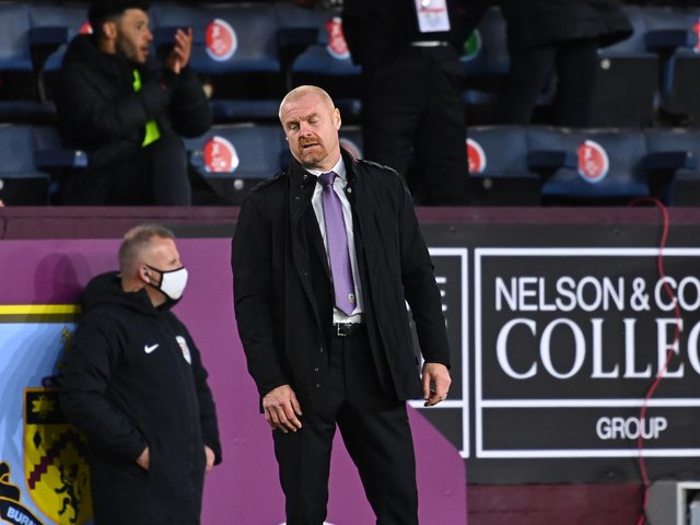 Sean Dyche, Manager of Burnley reacts during the Premier League match between Burnley and Liverpool at Turf Moor on May 19, 2021 in Burnley, England.