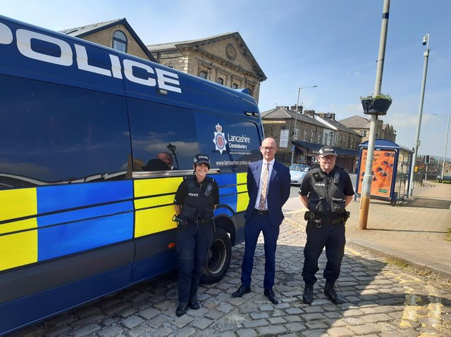 Police and Crime Commissioner Andrew Snowden joined neighbourhood officers PC Lorna Baldwin and PC Mark Dibbs on the operation in Brierfield and surrounding areas
