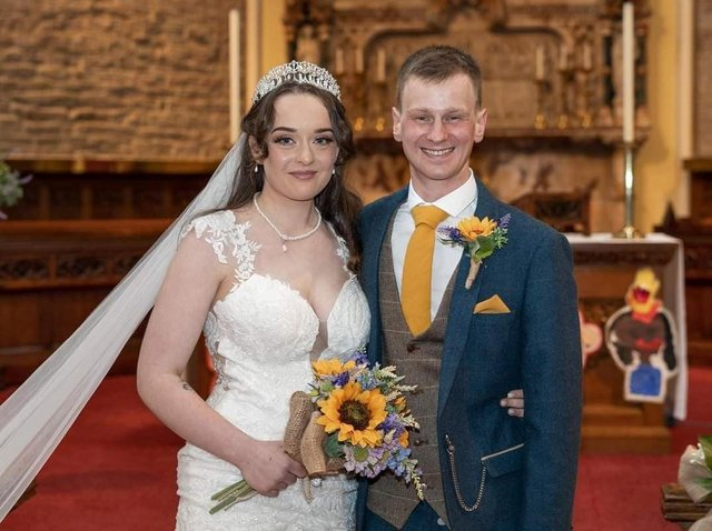 The bride and groom, Bethany Wolstencroft and James Cook on their wedding day