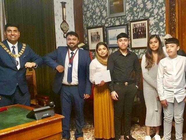 (Left to right) Coun. Wajid Khan with Ibby Ali, wife Rushada, and children Adnan, Aqeela and Ayaan.
