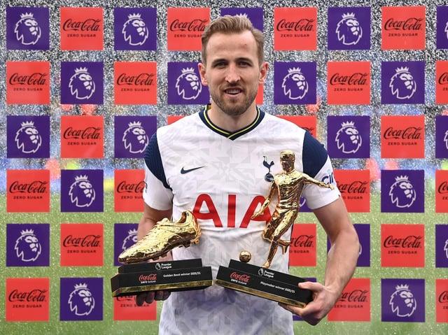 Harry Kane of Tottenham Hotspur poses with the Coca-Cola Zero Sugar Golden Boot Winner award, and the Coca-Cola Zero Sugar Playmaker Winner award.