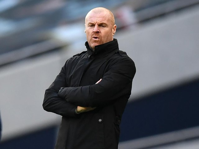 Burnley's English manager Sean Dyche looks on during the English Premier League football match between Tottenham Hotspur and Burnley at Tottenham Hotspur Stadium in London, on February 28, 2021.