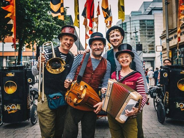 Boom Bike Bourree, a four piece line up of hurdy-gurdy, beatbox, accordion and trombone, from Lancaster will join the Musical Journey