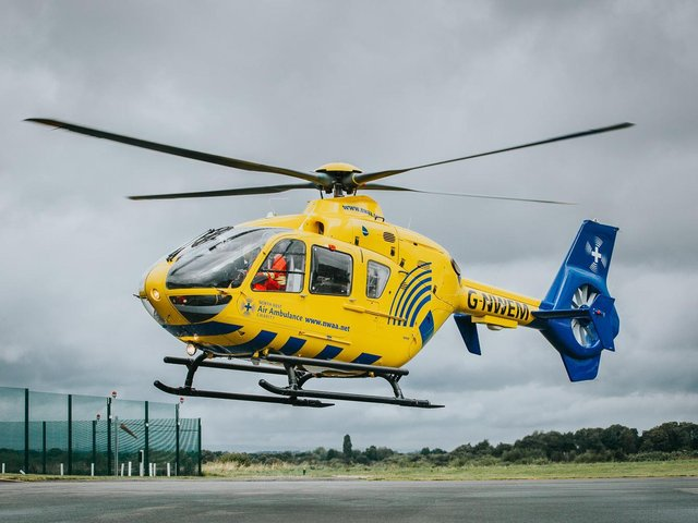 Air ambulance lands in Clitheroe