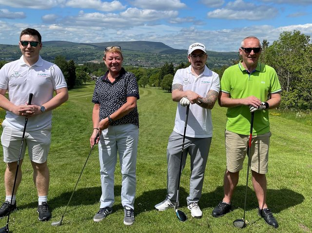 (Left to right) Jason Shaw and Amanda Speight (CFE Lighting), Carl Garnett (Sugden) and David Clews (CFE Lighting) at the Pendleside Hospice charity golf day