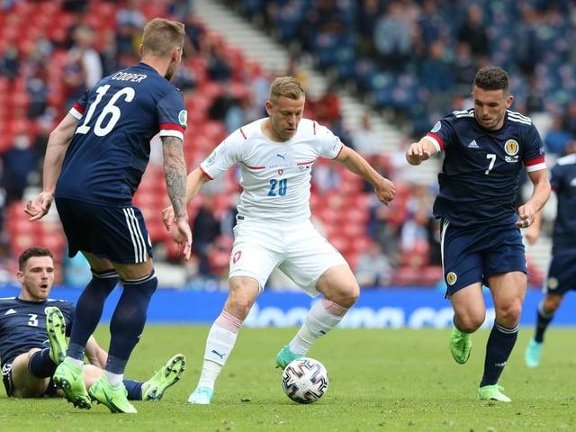Matej Vydra in action against Scotland