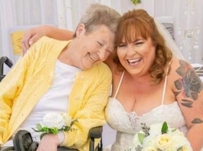 Sam with her cherished mum Sylvia at her wedding blessing