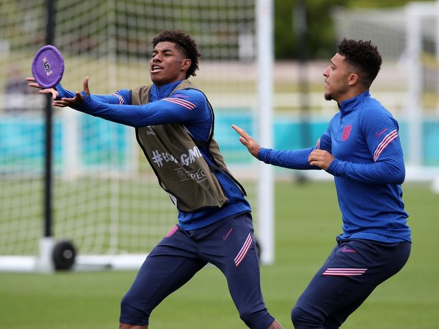 Big-match fever is catching: Marcus Rashford (left) and Jadon Sancho in England training at St George's Park on Thursday