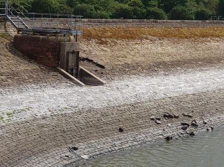 Vandals dislodged retaining wall stones to throw them into the water at Barrowford reservoir