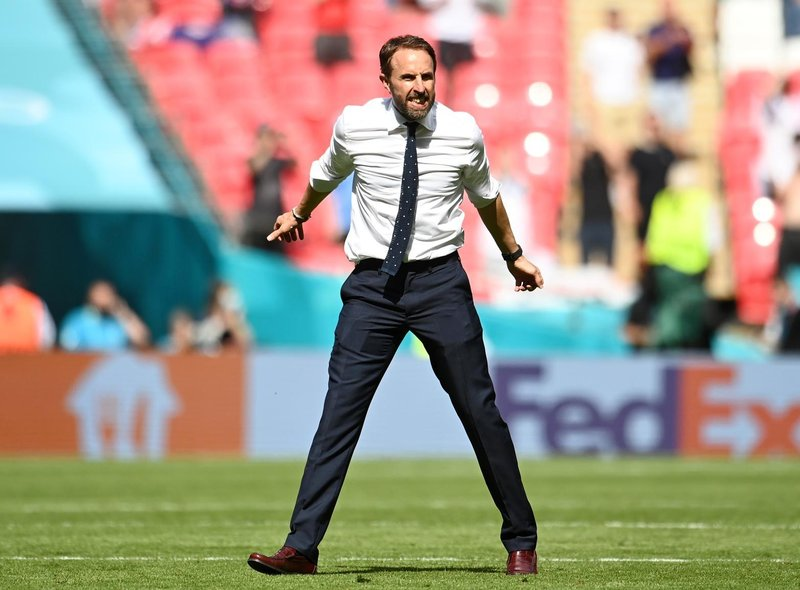 Gareth Southgate, Head Coach of England celebrates after victory in the UEFA Euro 2020 Championship Group D match between England and Croatia at Wembley Stadium on June 13, 2021 in London, England.