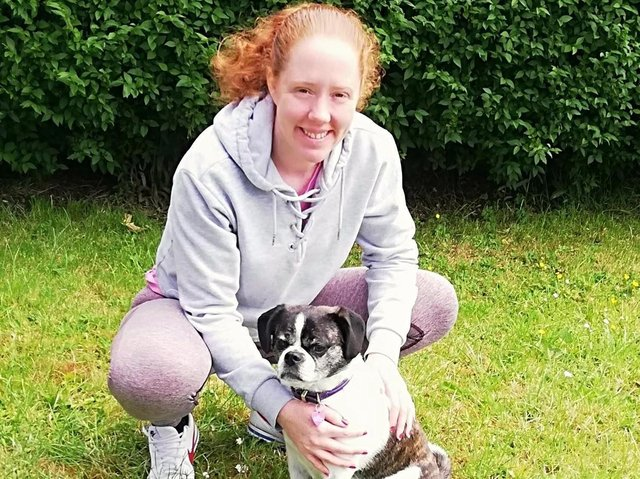 Brave Adele Wilkinson with her pet pooch Lexi