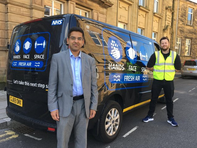 Coun. Nadeem Ahmed with Tom Willey of the Cabinet Office street team