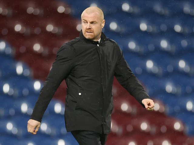 Sean Dyche, Manager of Burnley enters the pitch prior to the Premier League match between Burnley and Fulham at Turf Moor on February 17, 2021 in Burnley, England.