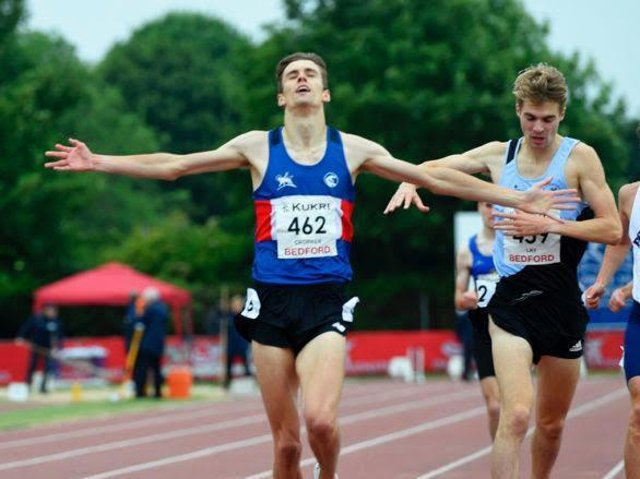 Tiarnan Crorken  crosses the line first at the English Championships in Bedford.  Credit: Mark Shearman