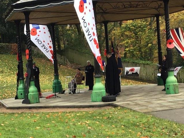 Last year's historic Remembrance Sunday ceremony in Padiham's Memorial Park (photo by Char Taylor)