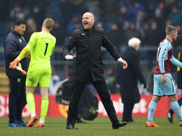 Sean Dyche, Manager of Burnley celebrates after the Premier League match between Burnley and Everton at Turf Moor on March 3, 2018 in Burnley, England.