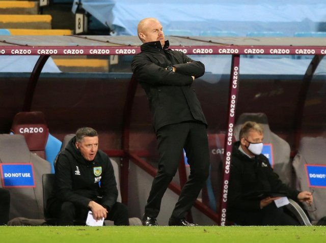 Sean Dyche, manager of Burnley reacts during the Premier League match between Aston Villa and Burnley at Villa Park on December 17, 2020 in Birmingham, England.