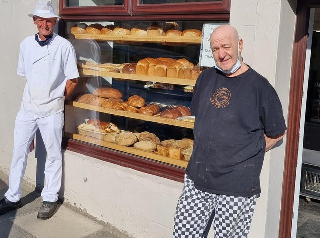 Owner, Mark Solomon (right) and Head Baker, Damian Crowther outside the bakery on Whalley Road.