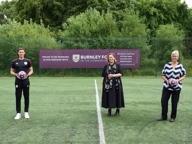 Chris Andrews, Head of Football Development at Burnley FC in the Community, Dr Sara Ward, Chief Executive of Burnley FC in the Community, and Charlotte Scheffmann, Dean of Higher Education at Nelson and Colne College Group University Centre.