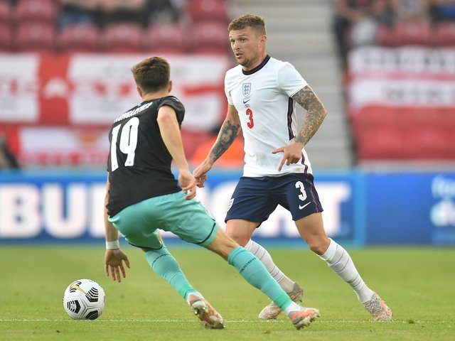 Kieran Trippier of England controls the ball during the international friendly match between England and Austria at Riverside Stadium on June 02, 2021 in Middlesbrough, England.